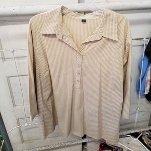 Avenue 30/32 Tan White Strip Pull-Over Blouse